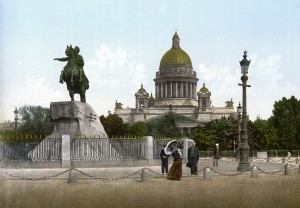 1280px-Bronze_Horseman_and_St'Isaac's_cathedral_1890-1900